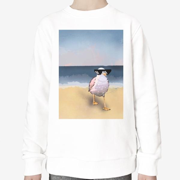 Свитшот «Чайка море песок лето пляж бархатный сезон»