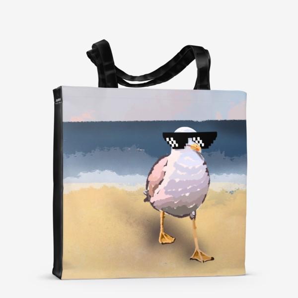 Сумка-шоппер «Чайка море песок лето пляж бархатный сезон»