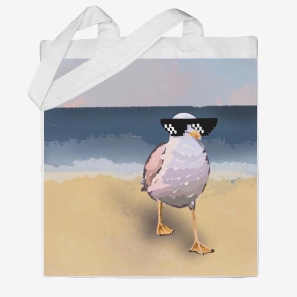Сумка хб «Чайка море песок лето пляж бархатный сезон»