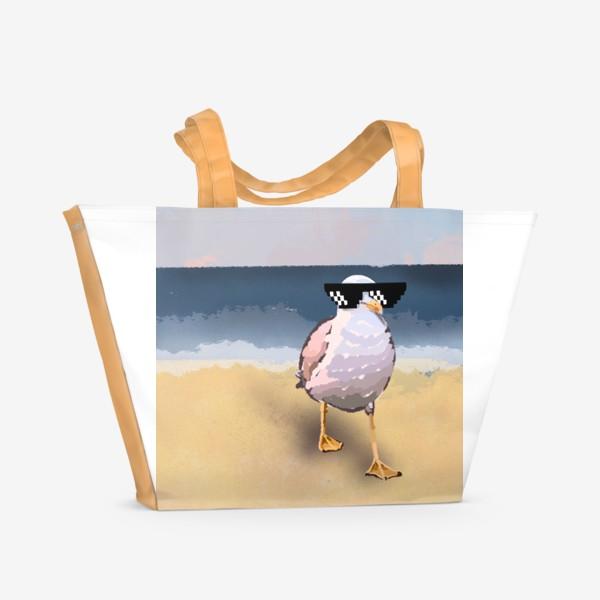 Пляжная сумка «Чайка море песок лето пляж бархатный сезон»