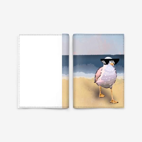 Обложка для паспорта «Чайка море песок лето пляж бархатный сезон»