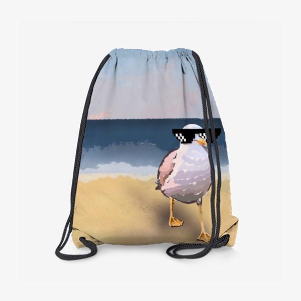 Рюкзак «Чайка море песок лето пляж бархатный сезон»