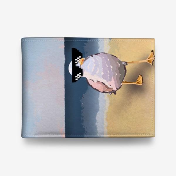 Кошелек «Чайка море песок лето пляж бархатный сезон»