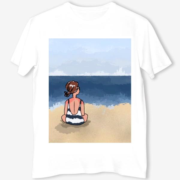 Футболка «На море отдых бархатный сезон девушка на песке пляж»