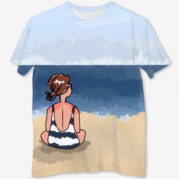 Футболка с полной запечаткой «На море отдых бархатный сезон девушка на песке пляж»