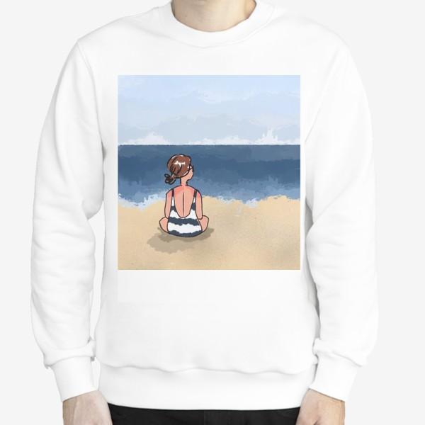 Свитшот «На море отдых бархатный сезон девушка на песке пляж»