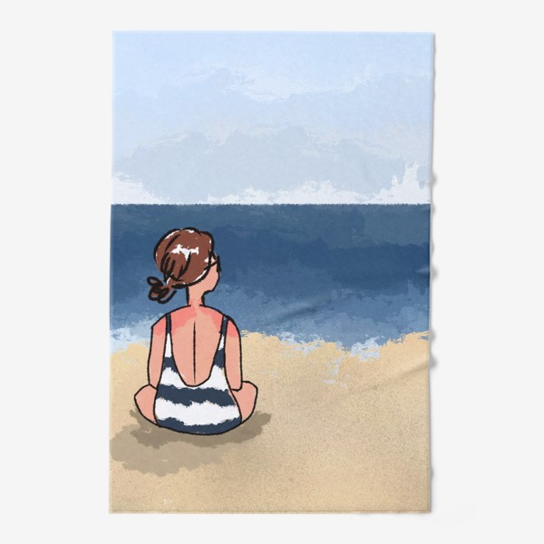 Полотенце «На море отдых бархатный сезон девушка на песке пляж»