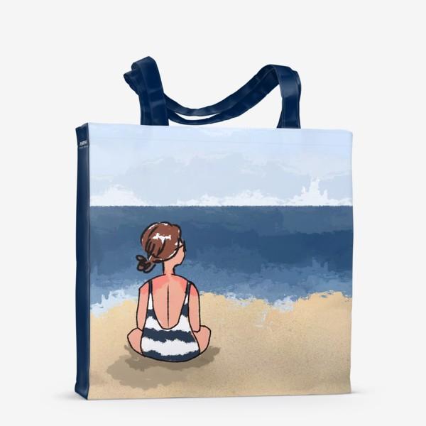 Сумка-шоппер «На море отдых бархатный сезон девушка на песке пляж»