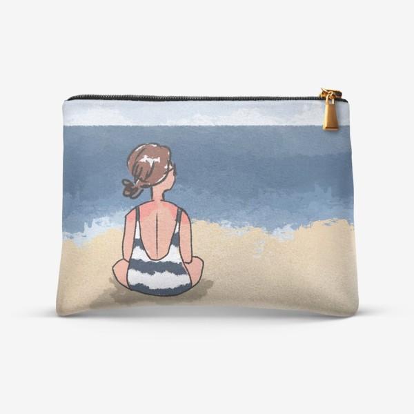 Косметичка «На море отдых бархатный сезон девушка на песке пляж»