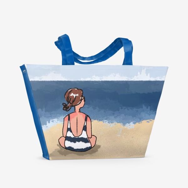 Пляжная сумка «На море отдых бархатный сезон девушка на песке пляж»