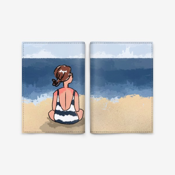 Обложка для паспорта «На море отдых бархатный сезон девушка на песке пляж»