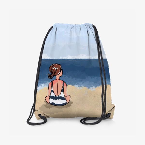 Рюкзак «На море отдых бархатный сезон девушка на песке пляж»