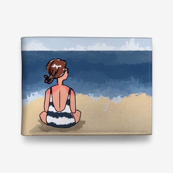 Кошелек «На море отдых бархатный сезон девушка на песке пляж»