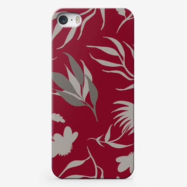 Чехол iPhone «Серая ботаника на бордовом»