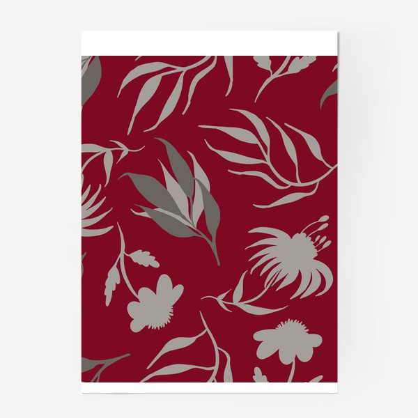 Постер «Серая ботаника на бордовом»