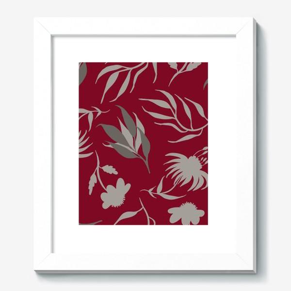 Картина «Серая ботаника на бордовом»