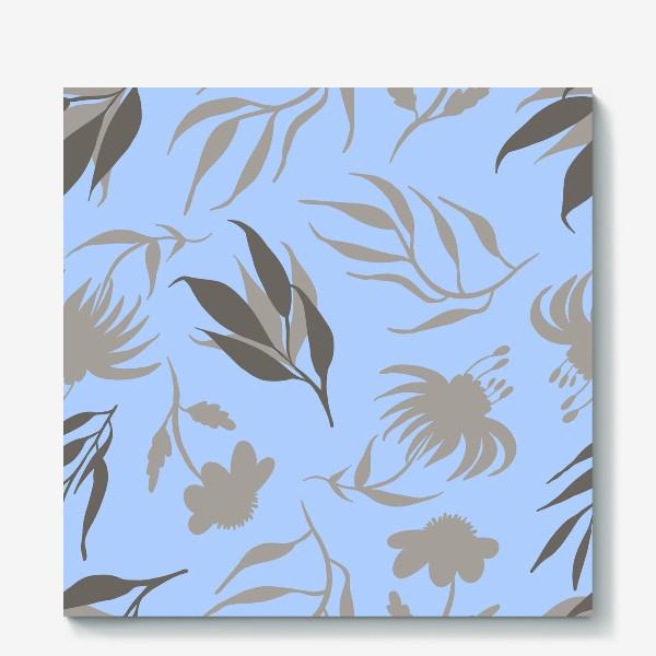 Холст «Серая ботаника на голубом»