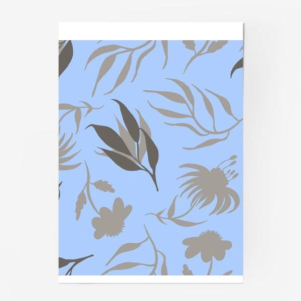 Постер «Серая ботаника на голубом»