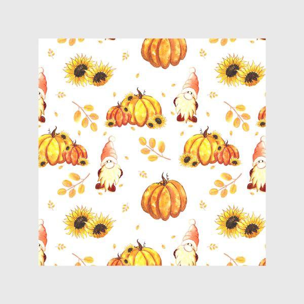 Скатерть «Осенние гномы с тыквами»
