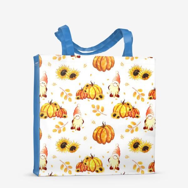 Сумка-шоппер «Осенние гномы с тыквами»