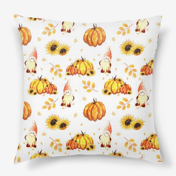 Подушка «Осенние гномы с тыквами»