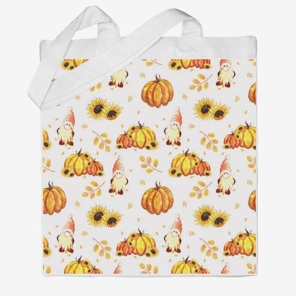 Сумка хб «Осенние гномы с тыквами»