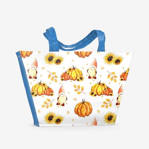 Пляжная сумка «Осенние гномы с тыквами»