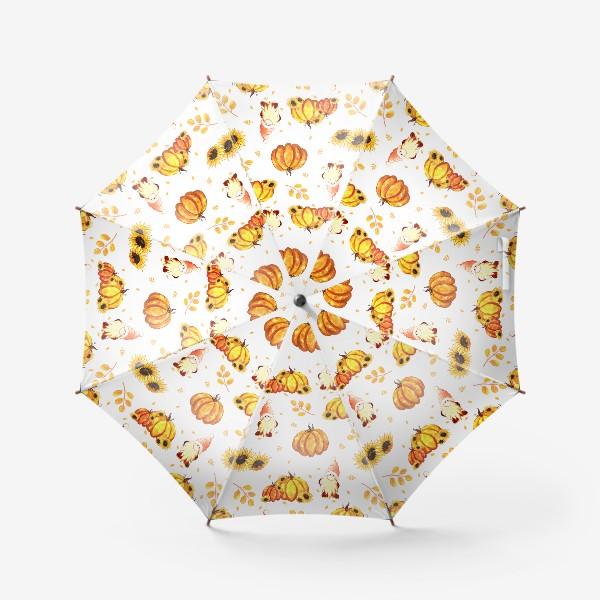 Зонт «Осенние гномы с тыквами»
