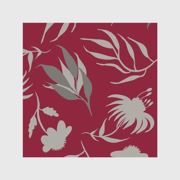 Скатерть «Серая ботаника на бордовом»