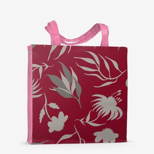 Сумка-шоппер «Серая ботаника на бордовом»