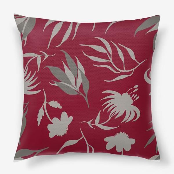 Подушка «Серая ботаника на бордовом»