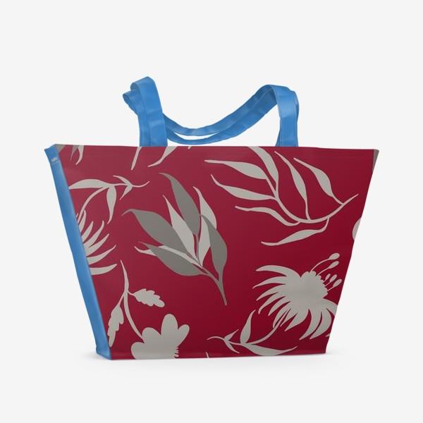 Пляжная сумка «Серая ботаника на бордовом»