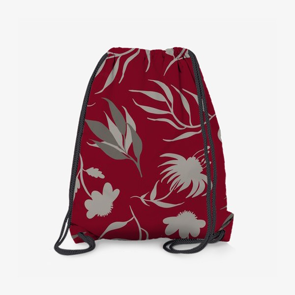 Рюкзак «Серая ботаника на бордовом»