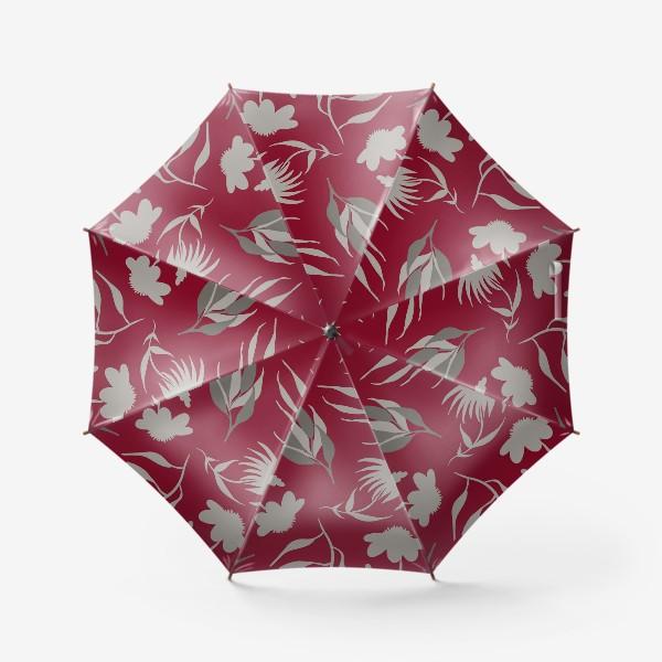 Зонт «Серая ботаника на бордовом»