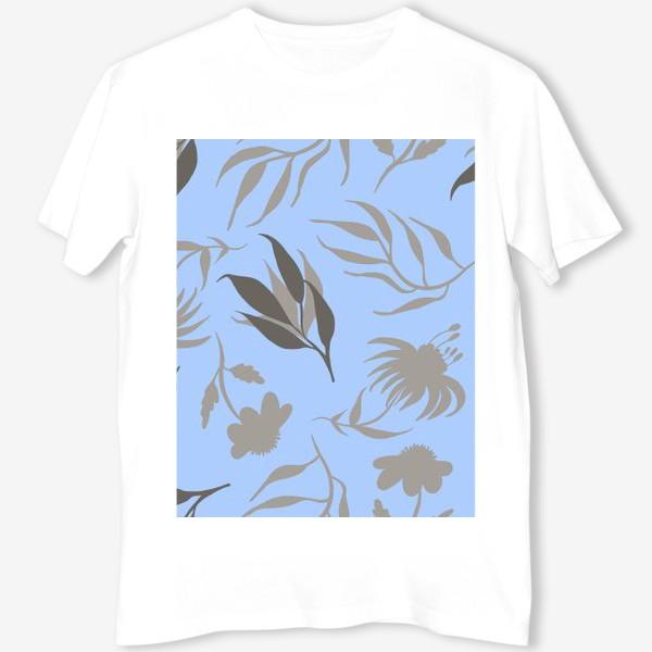Футболка «Серая ботаника на голубом»