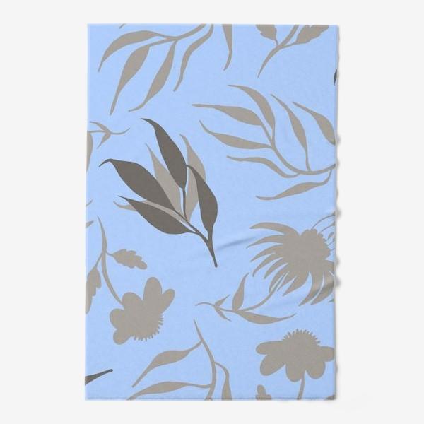 Полотенце «Серая ботаника на голубом»