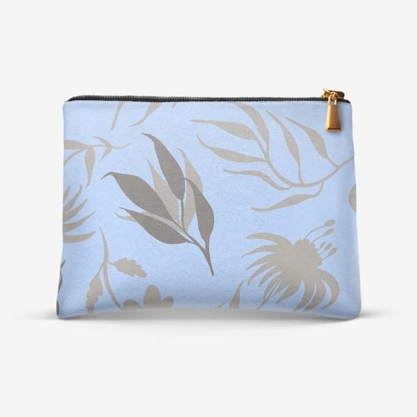 Косметичка «Серая ботаника на голубом»