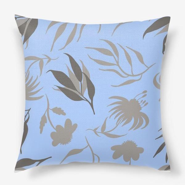 Подушка «Серая ботаника на голубом»