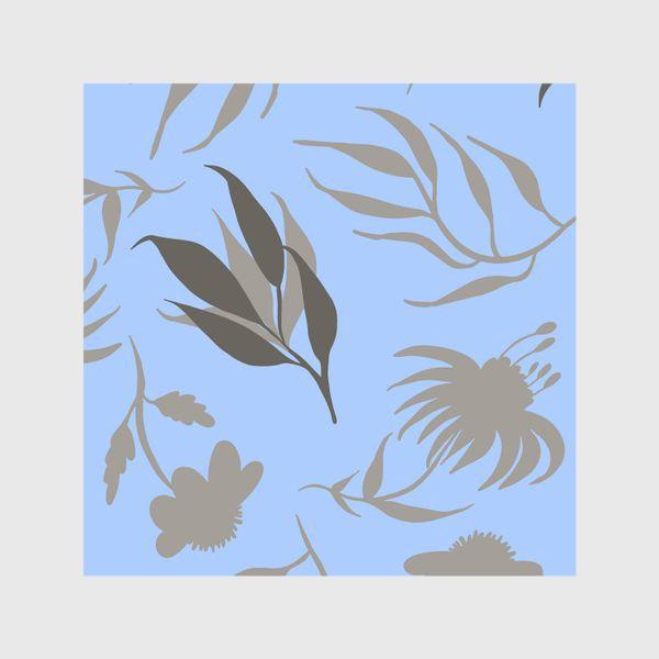 Шторы «Серая ботаника на голубом»