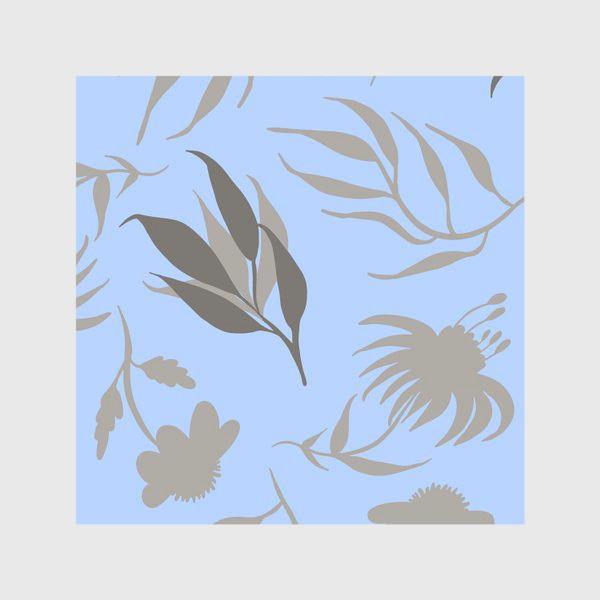 Скатерть «Серая ботаника на голубом»