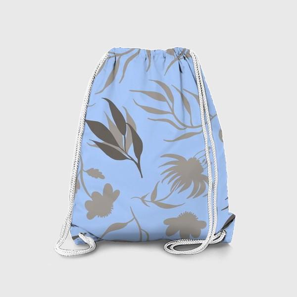 Рюкзак «Серая ботаника на голубом»