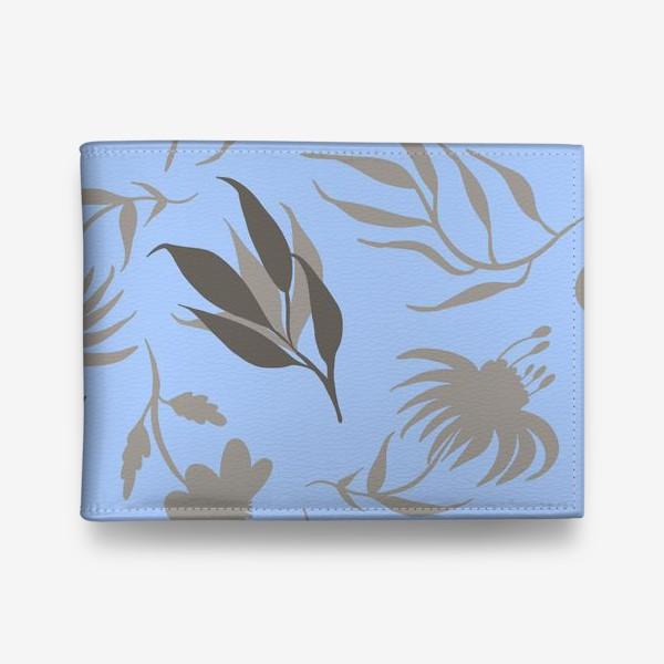 Кошелек «Серая ботаника на голубом»