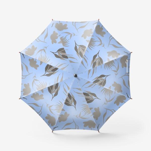 Зонт «Серая ботаника на голубом»