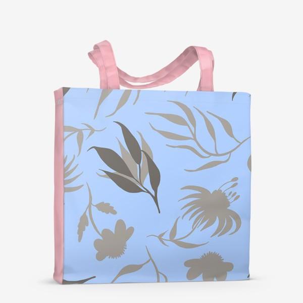 Сумка-шоппер «Серая ботаника на голубом»