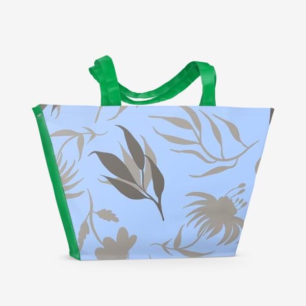 Пляжная сумка «Серая ботаника на голубом»
