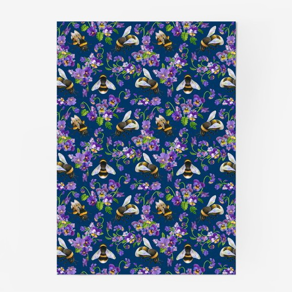 Постер «Шмели, пчёлы, фиалки, виолы, анютины глазки на синем фоне»