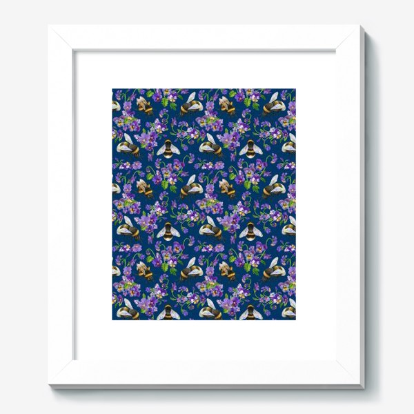 Картина «Шмели, пчёлы, фиалки, виолы, анютины глазки на синем фоне»