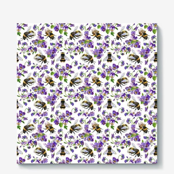 Холст «Шмели, пчёлы, насекомые, фиалки, виолы, анютины глазки, белый фон»