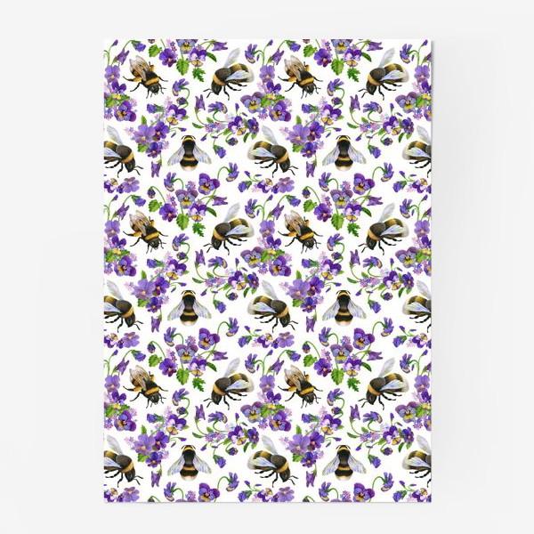 Постер «Шмели, пчёлы, насекомые, фиалки, виолы, анютины глазки, белый фон»