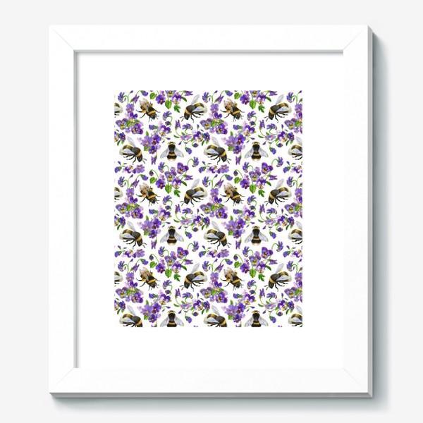 Картина «Шмели, пчёлы, насекомые, фиалки, виолы, анютины глазки, белый фон»